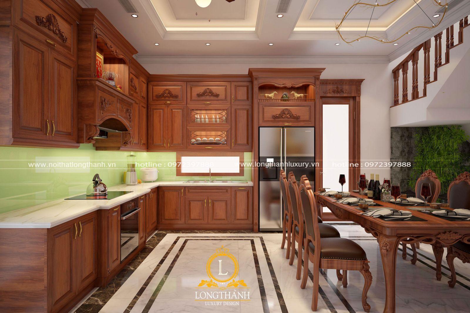 Tủ bếp tân cổ điển đẹp được gia công tỉ mỉ trong từng chi tiết  thể hiện đẳng cấp gia chủ