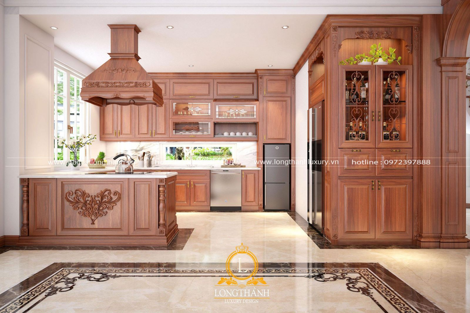 Mẫu  tủ bếp gỗ Gõ cao cấp được lựa chọn cho không gian nhà bếp biệt thự