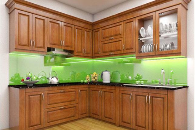 Tủ bếp đẹp làm từ gỗ xoan đào