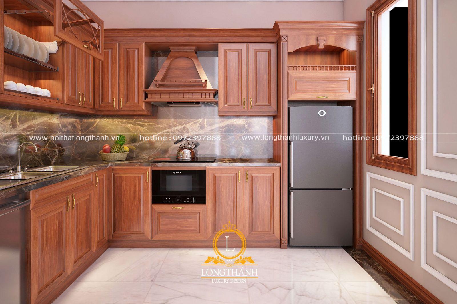 Tủ bếp gỗ Gõ đẹp sang trọng nhẹ nhàng mà tinh tế