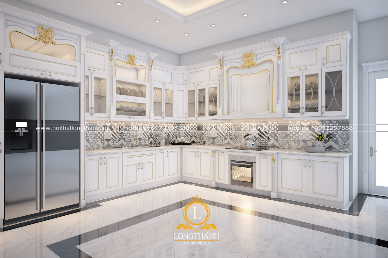 Tủ bếp đẹp nhẹ nhàng sang trọng