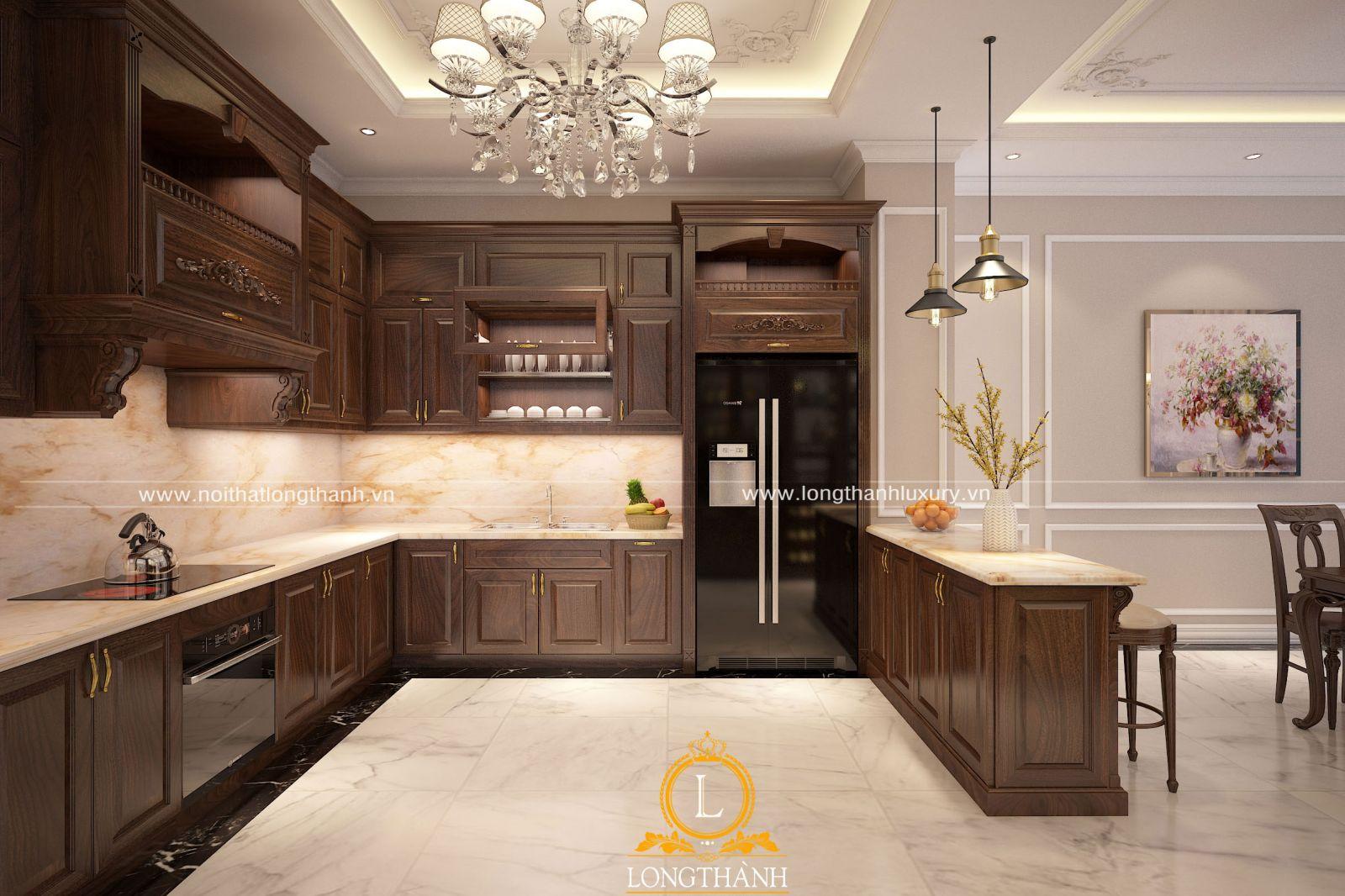 Tủ bếp đẹp thiết kế cân đối không gian