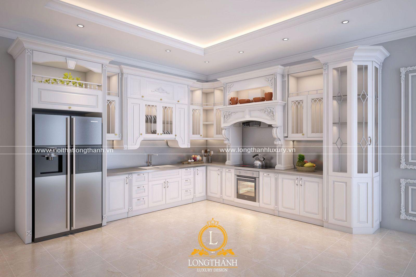 Tủ bếp sơn trắng với hoa văn đơn giản được nhiều chủ nhân lựa chọn