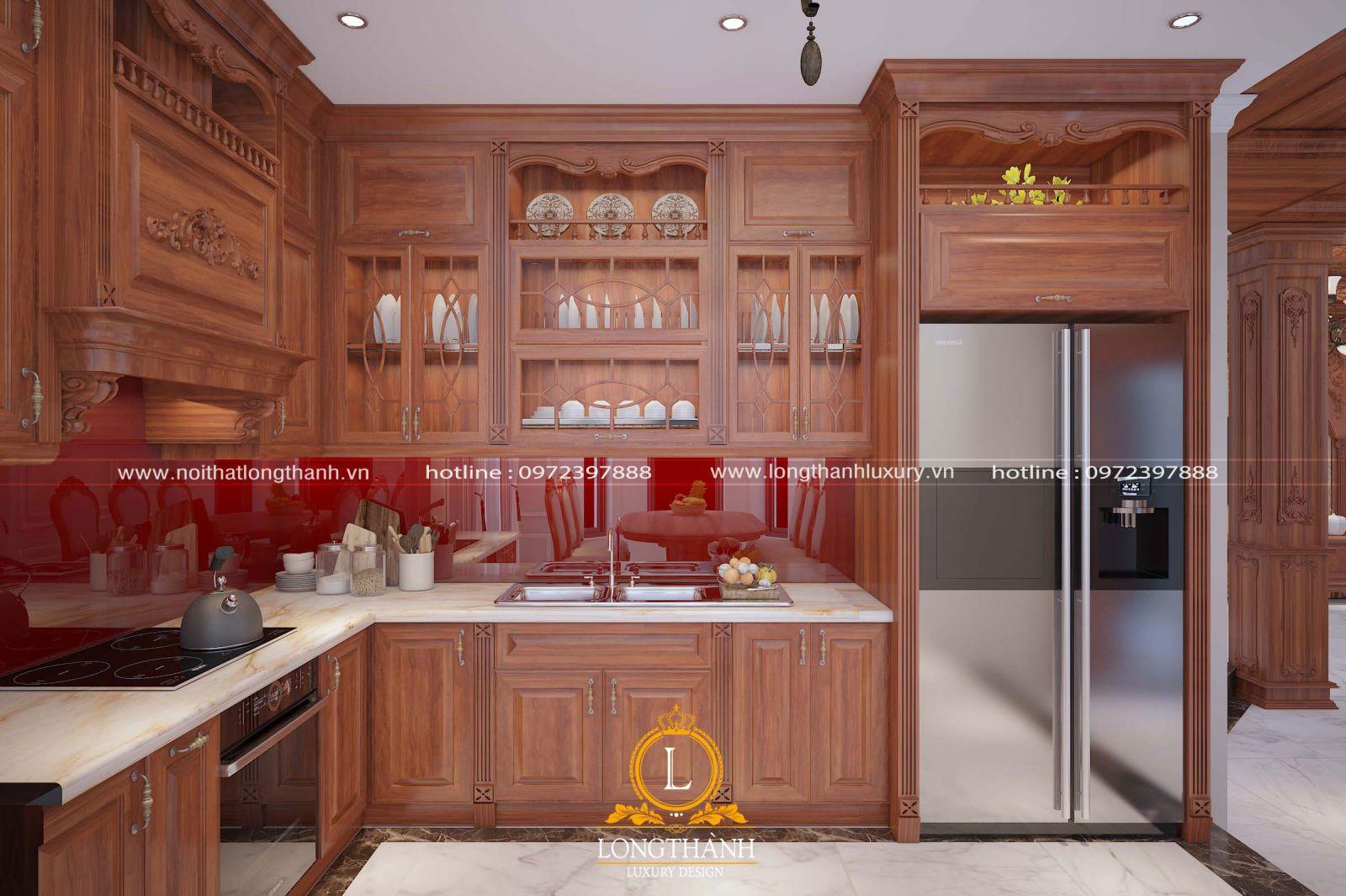 Tủ bếp với gam màu vàng sáng được làm từ chất lượng gỗ Gõ tự nhiên