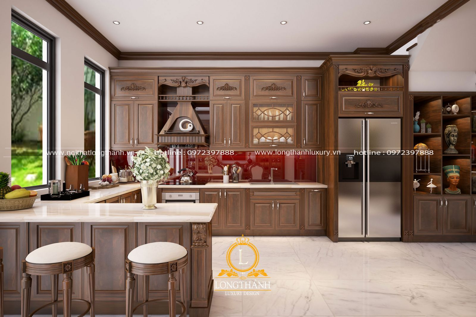 Tủ bếp tân cổ điển chữ L sang trọng