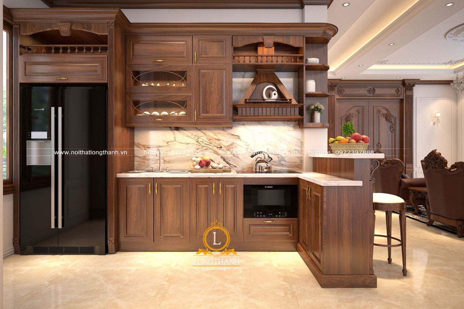 Mẫu tủ bếp đẹp với gam màu nâu ấn tượng được thiết kế kết hợp cùng quầy bar