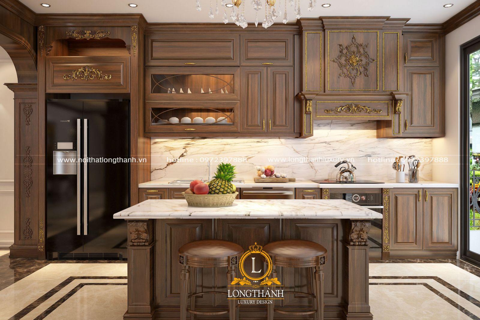 Tủ bếp tân cổ điển từ gỗ Gõ tự nhiên được chạm khắc các họa tiết hoa văn sang trọng