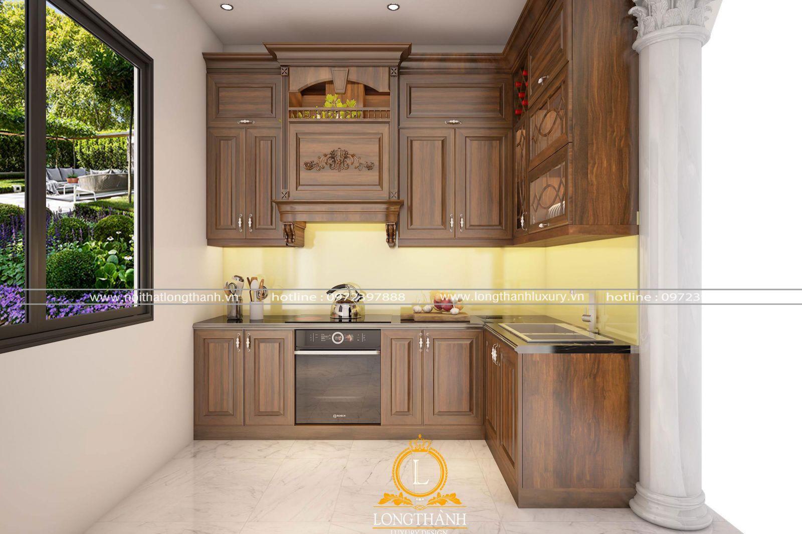Tủ bếp được thiết kế theo không gian chung cư