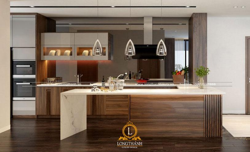 Nội thất phòng bếp bằng gỗ tự nhiên luôn tạo vẻ đẹp cuốn hút và ấn tượng cho không gian