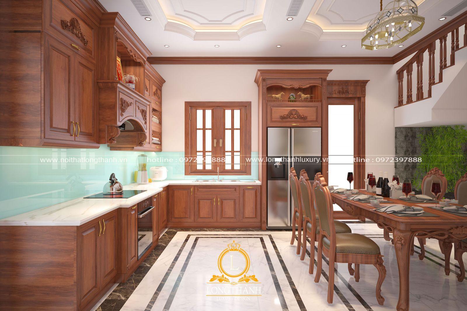 Bộ tủ bếp đẹp được lựa chọn cùng bộ bàn ăn cho không gian nhà bếp hài hòa