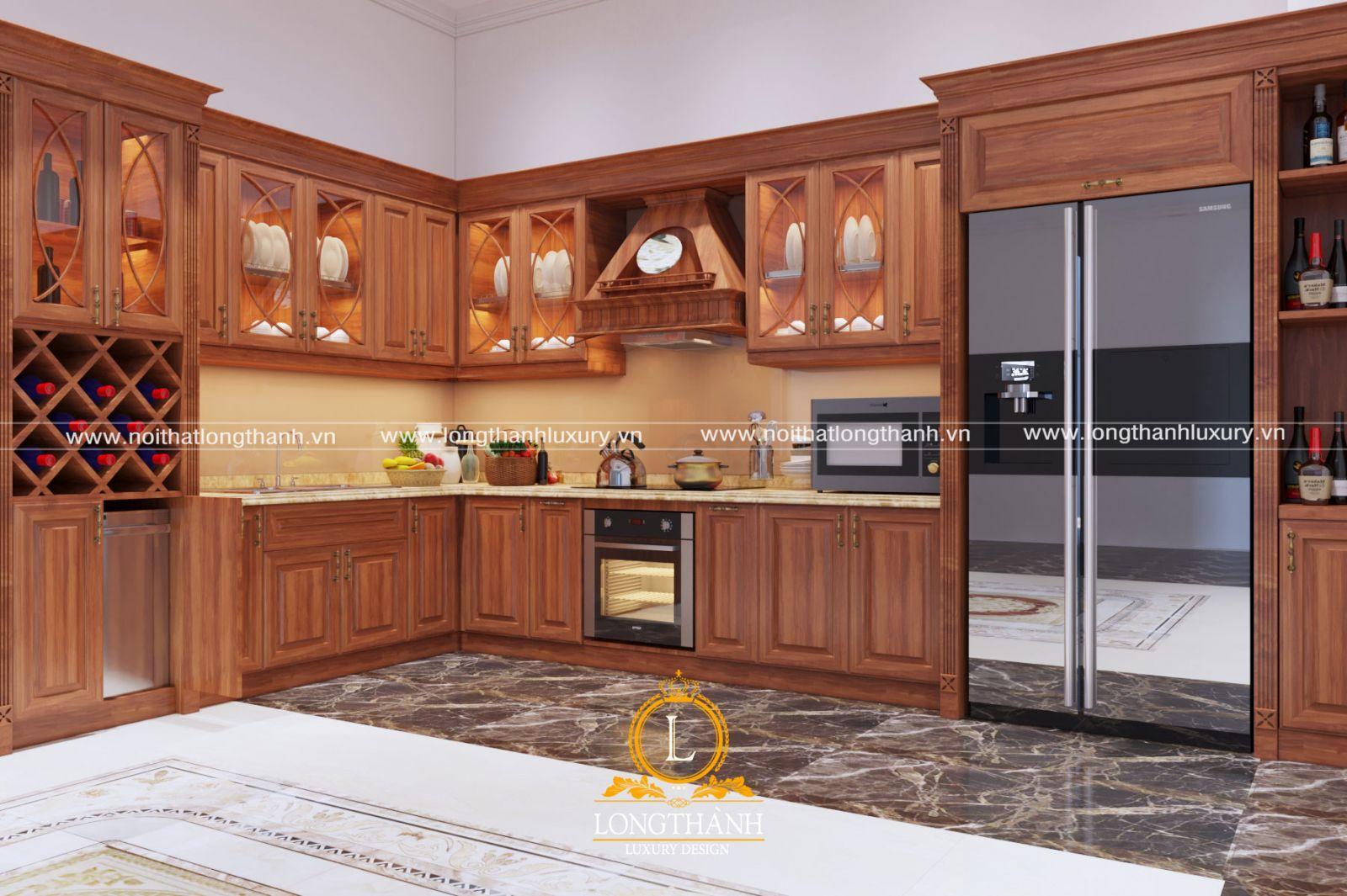 Tủ bếp tân cổ điển gam màu vàng sáng đẹp phù hợp với người mệnh hỏa