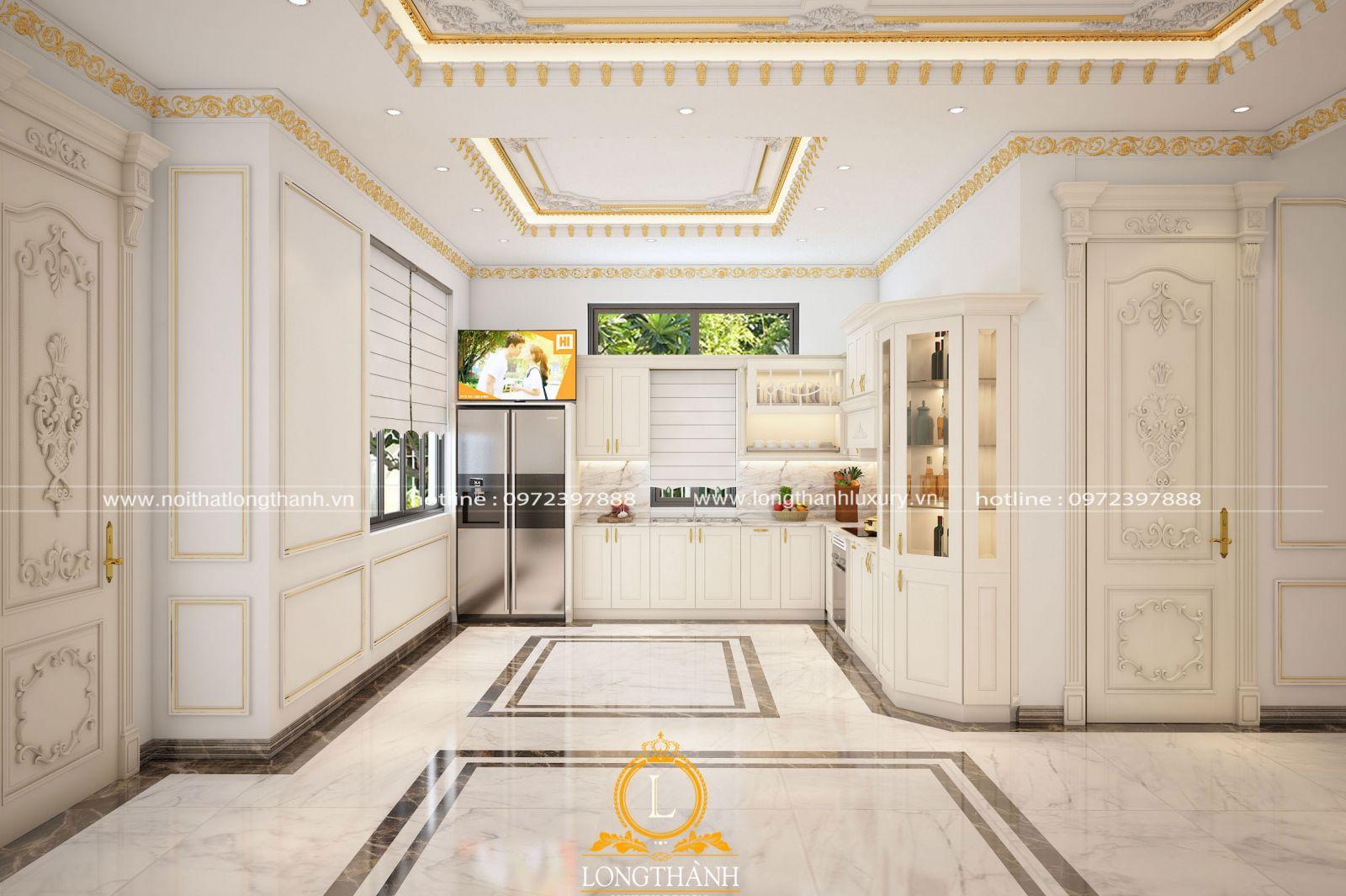 Tủ bếp sớn trắng đẹp tinh tế