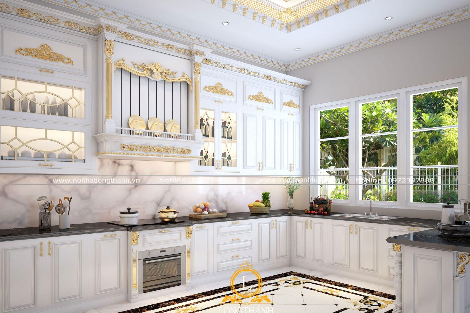 Tủ bếp sơn trắng làm đẹp không gian sống