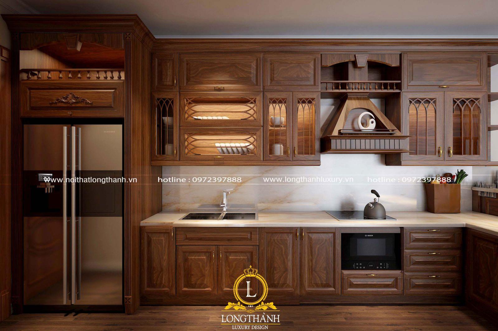 Mẫu tủ bếp tân cổ điển cho nhà chung cư ấm cúng bằng gỗ tự nhiên cao cấp
