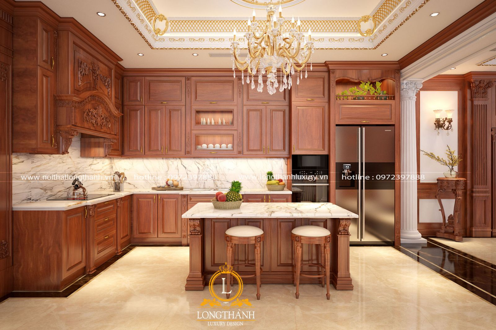 Mẫu tủ bếp tân cổ điển chạm khắc tinh tế  và  vô cùng nổi bật cùng hệ đèn trang trí