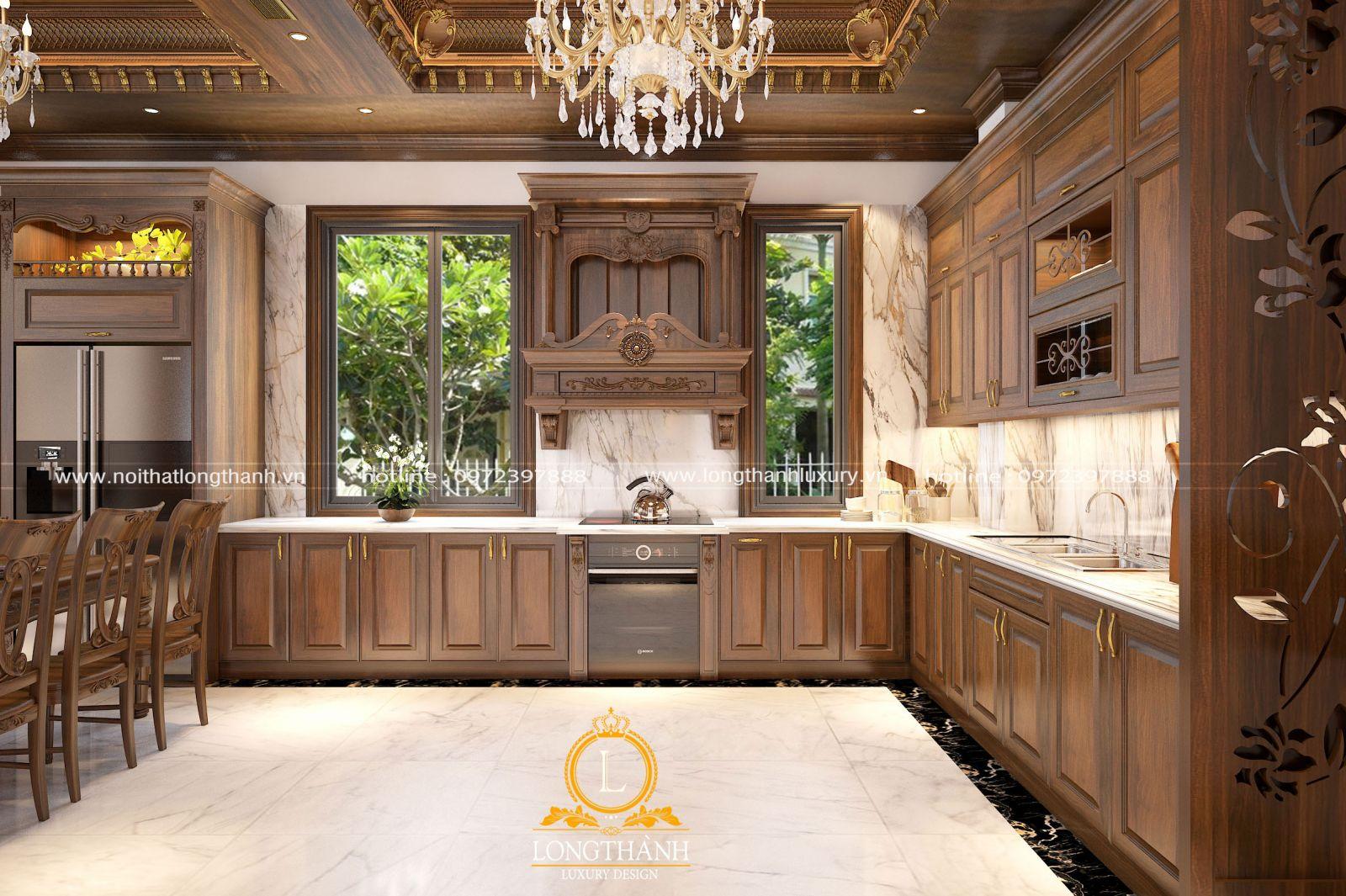 Không gian nhà bếp biệt thự được thiết kế tận dụng tối đa nguồn ánh sáng tự nhiên từ hệ cửa sổ