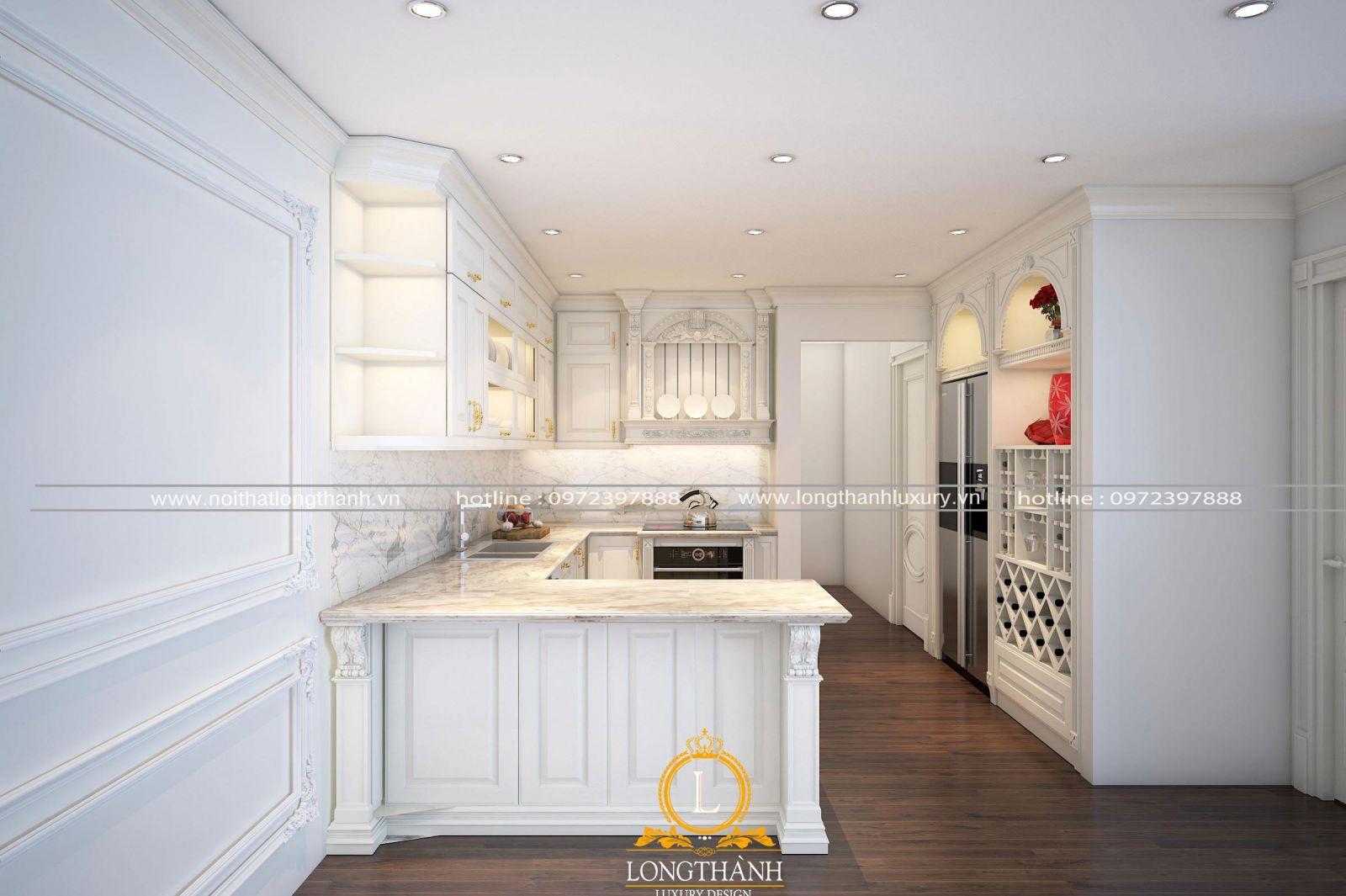 Tủ bếp tân cổ điển sơn trắng đẹp
