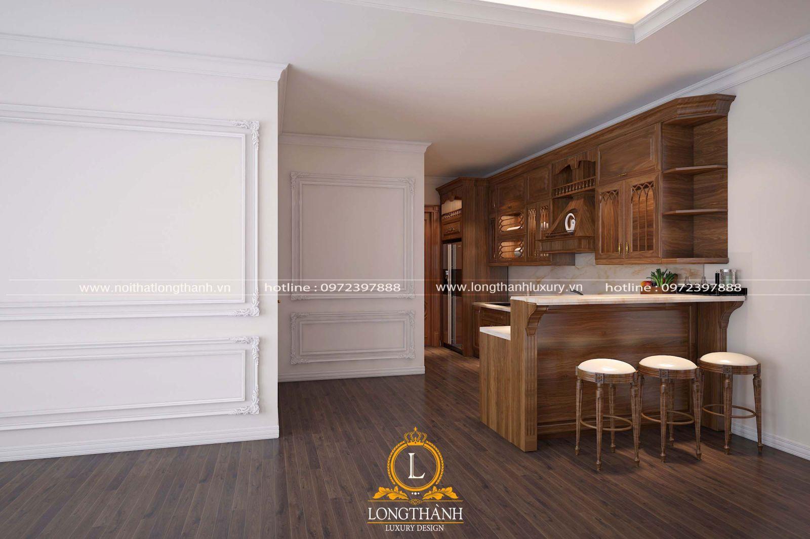 Tủ bếp tân cổ điển theo không gian
