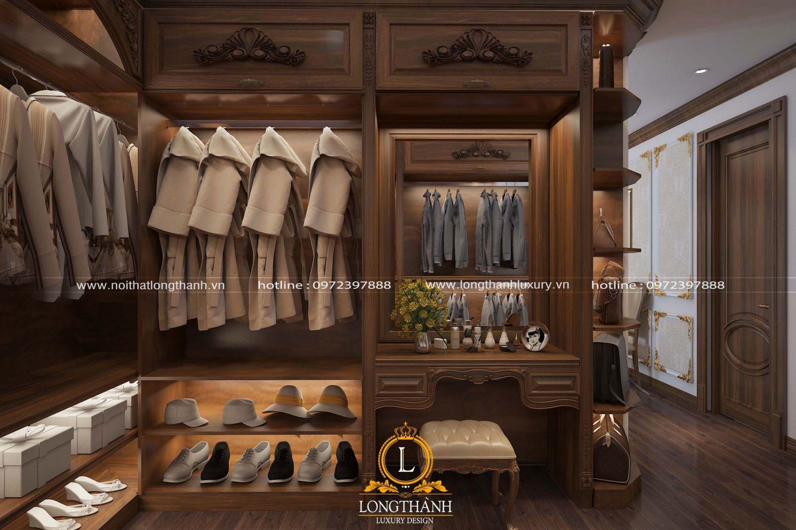 Tủ quần áo thiết kế kết hợp bàn phấn
