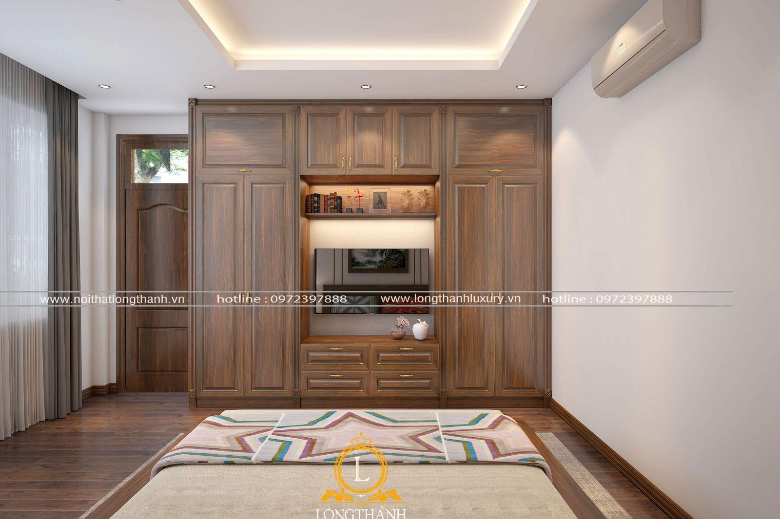 Tủ quần áo trong phòng ngủ hiện đại được thiết kế đơn giản