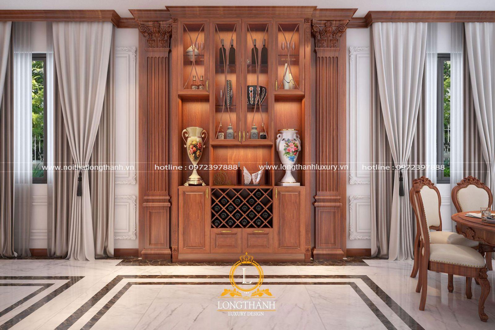 Mẫu tủ rượu được sử dụng chất liệu gỗ Gõ cao cấp