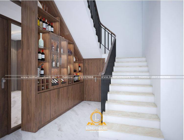 Tủ rượu gầm cầu thang đẹp cân đối cùng không gian