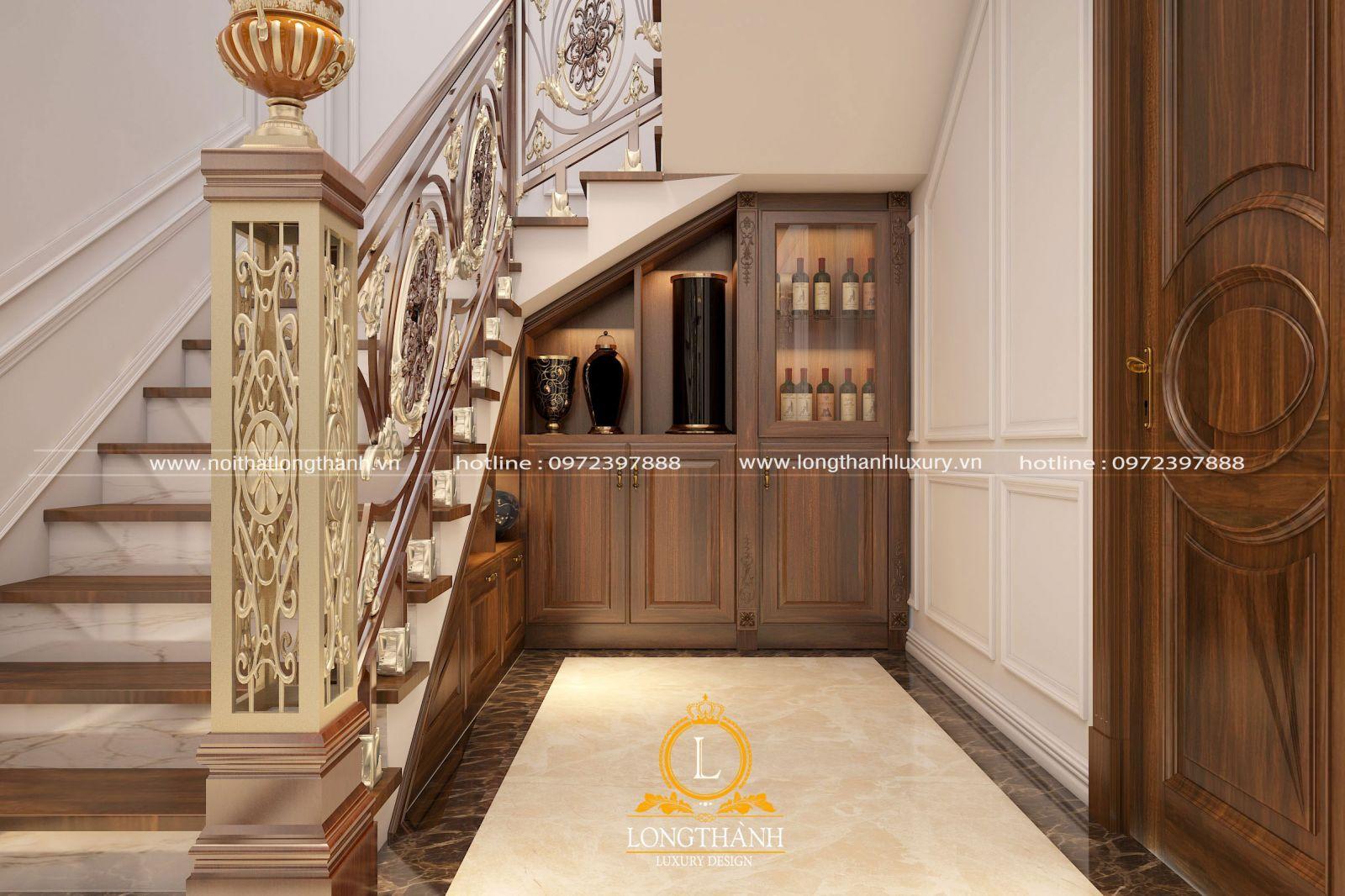 Tủ rượu âm tường với gam màu hài hòa cùng không gian nội thất chung