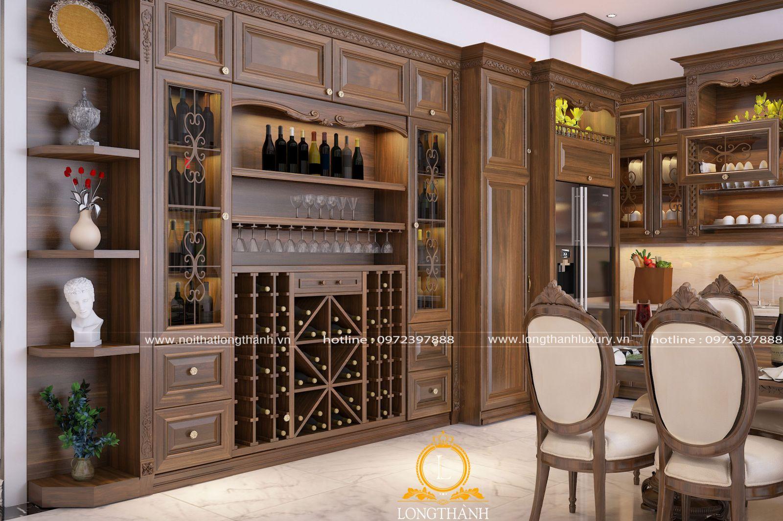 Tủ rượu kết hợp kệ trang trí