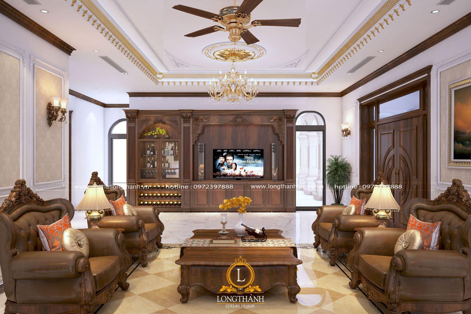 Tủ rượu gỗ được bố trí trong không gian nội thất phòng khách