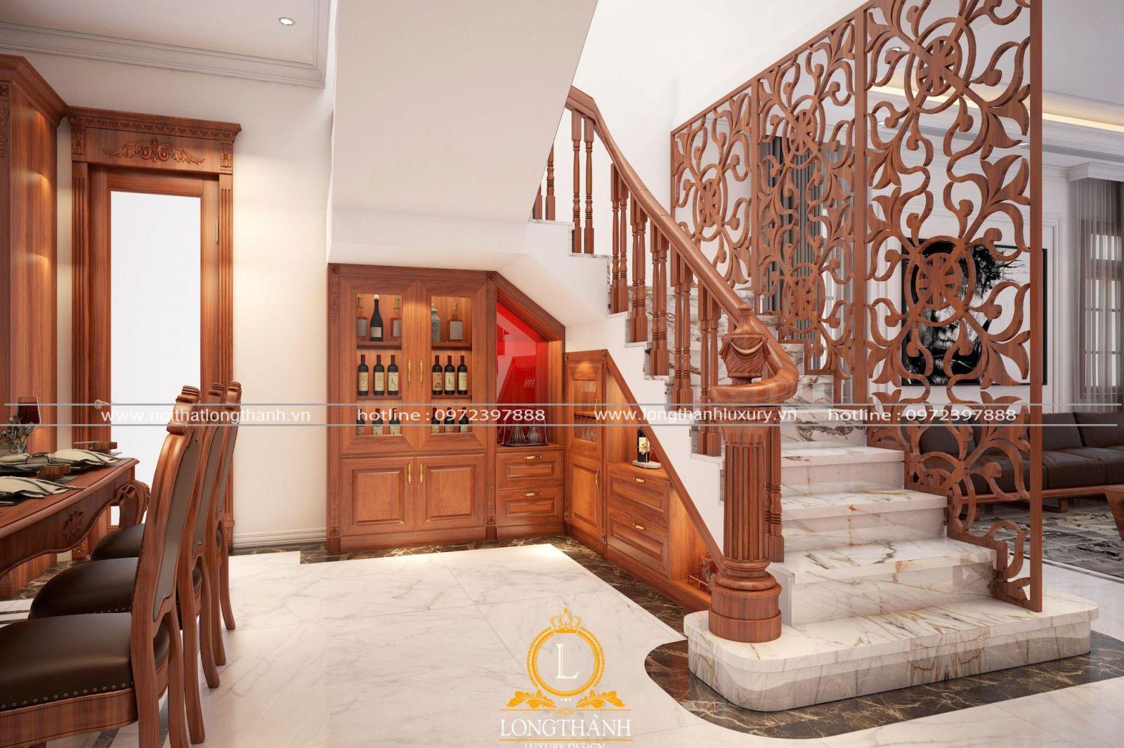 Tủ rượu nhỏ tiết kiệm diện tích không gian cầu thang