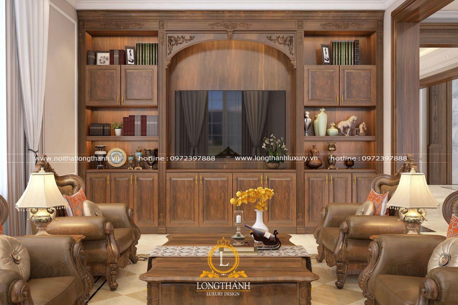 Tủ trang trí kết hợp kệ tivi cho phòng khách tân cổ điển