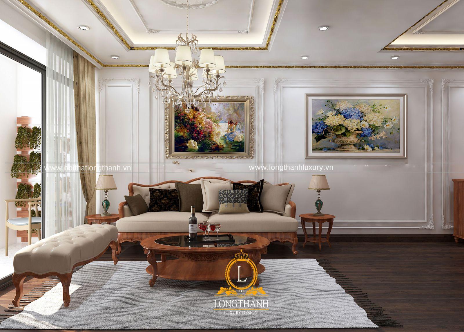 Vách kính được thiết kế giúp phòng khách thông thoáng và đón nhiều ánh sáng tự nhiên
