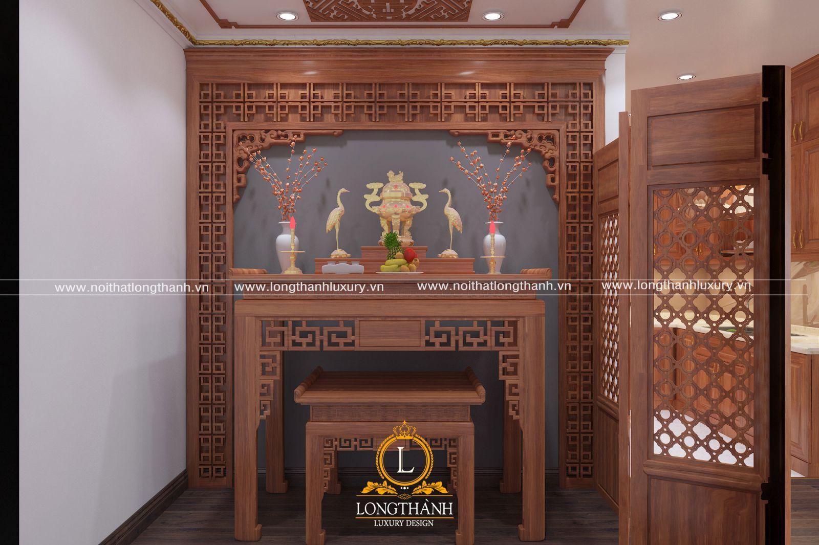 Vách ngăn phòng thờ đơn giản làm cửa