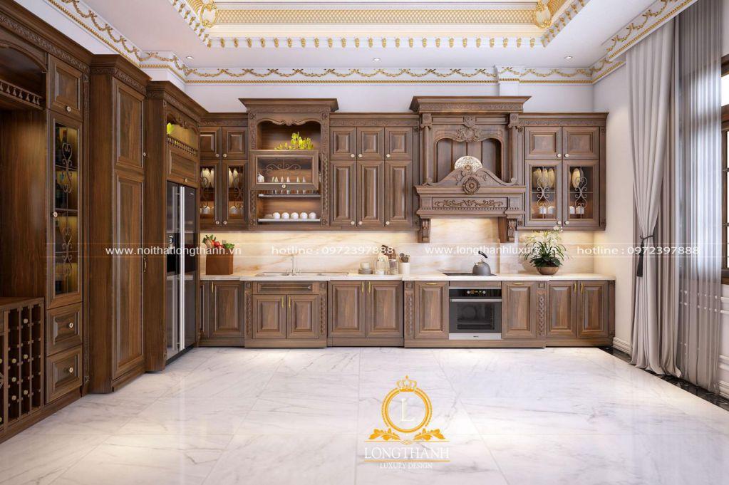 Ưu điểm của gỗ tự nhiên trong không gian phòng bếp chính là độ bền