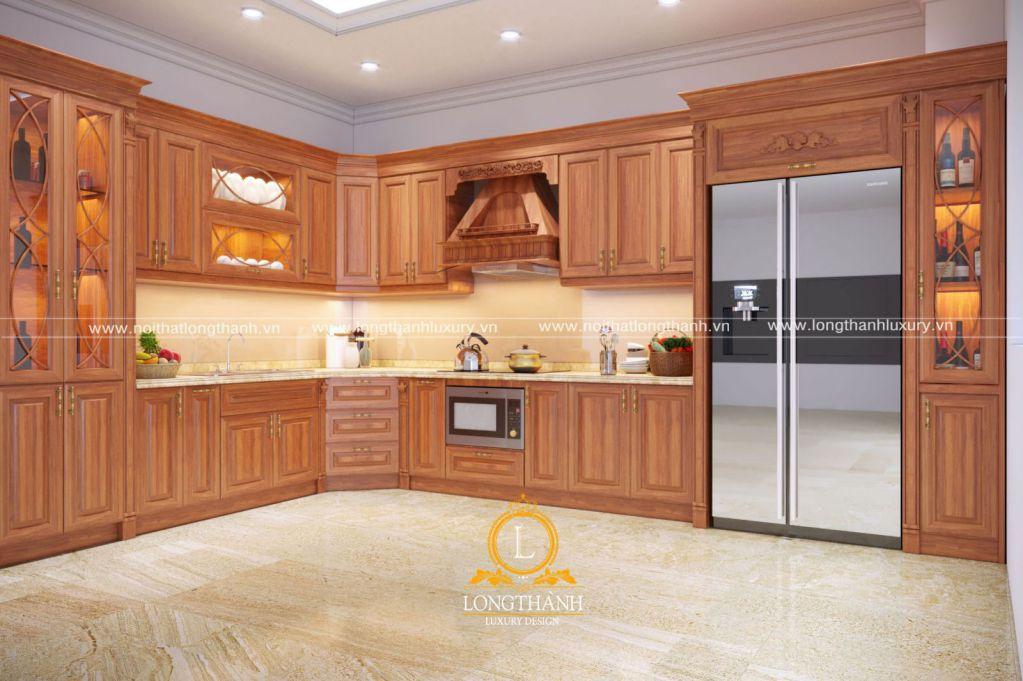 Chọn đồ gỗ cho căn bếp cần chọn gỗ chịu được ẩm, nhiệt độ, ít cong vênh.