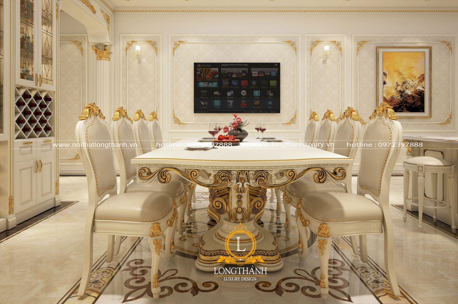 Bàn ăn 8 ghế sơn trắng dát vàng
