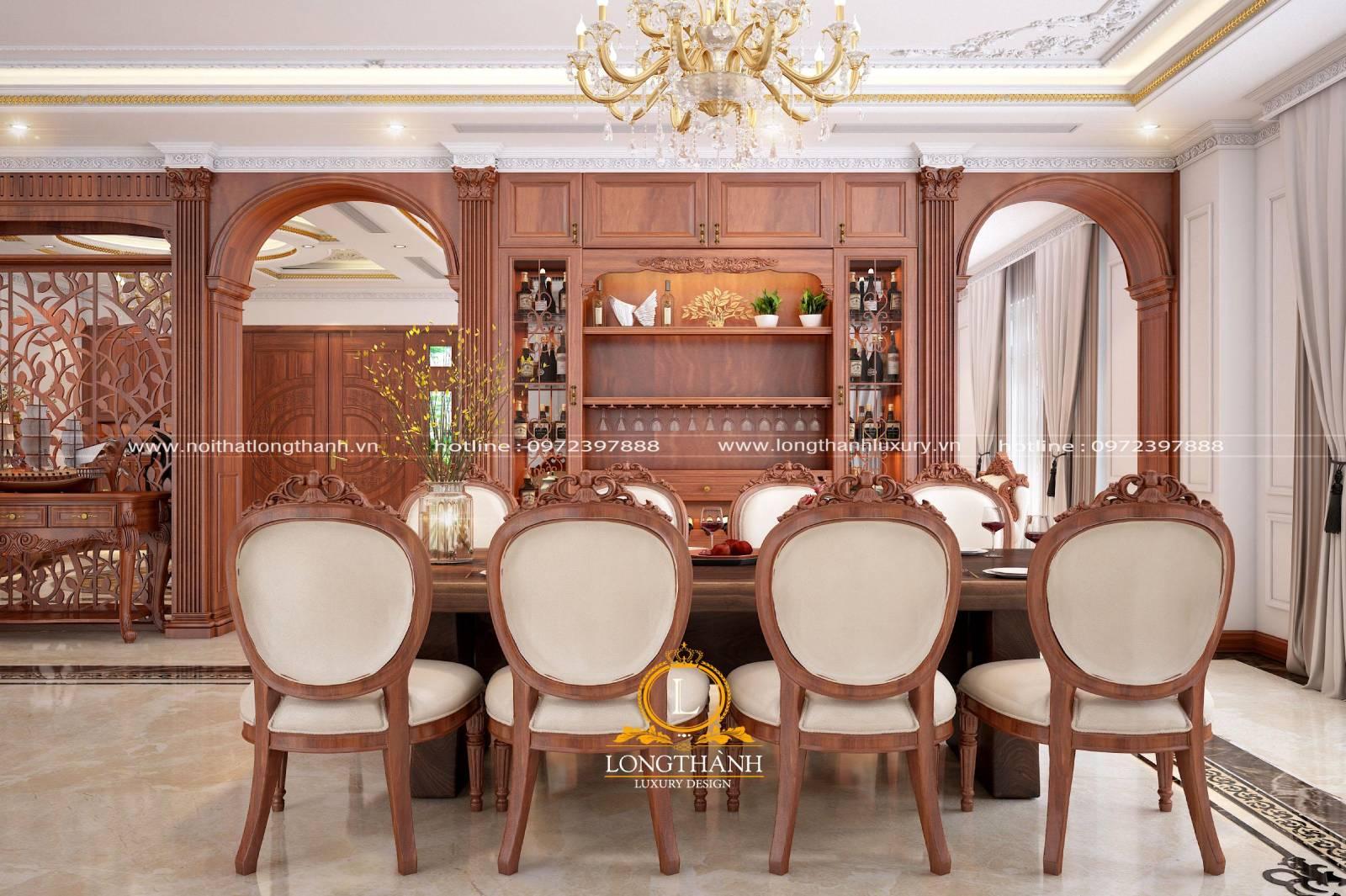 Mẫu bàn ăn 8 ghế sang trọng phù hợp cho không gian phòng ăn rộng