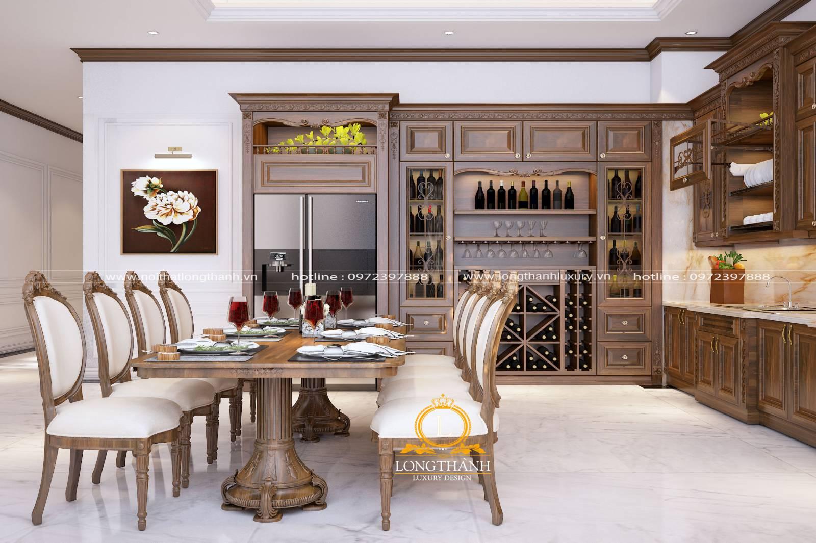 Mẫu bàn ghế ăn gỗ Sồi 8 ghế cho phòng bếp nhà biệt thự rộng