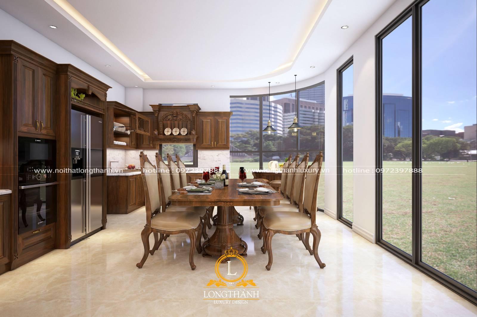 Bộ bàn ghế ăn kết hợp hài hòa với tổng thể nội thất phòng ăn