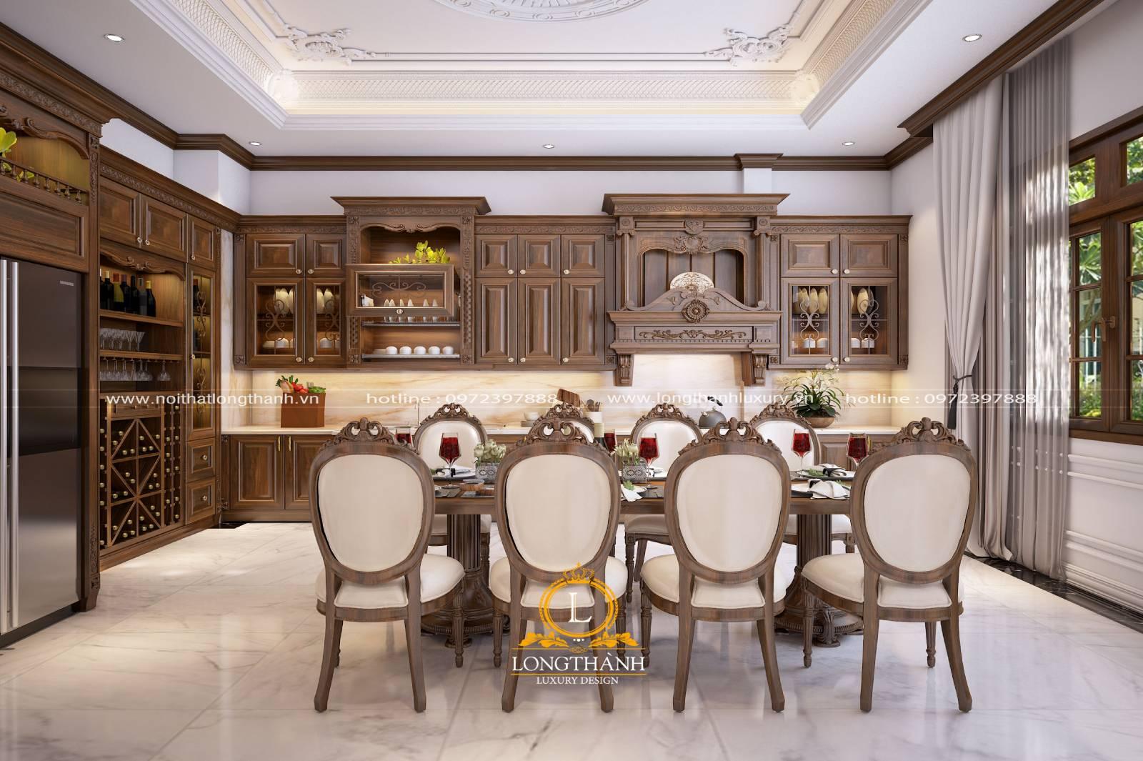 Thiết kế bàn ăn gỗ Sồi theo phong cách tân cổ điển sang trọng