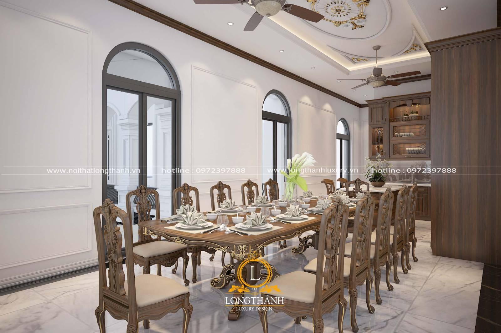 Bộ bàn ăn gỗ Sồi sơn nâu socola theo phong cách tân cổ điển Châu Âu
