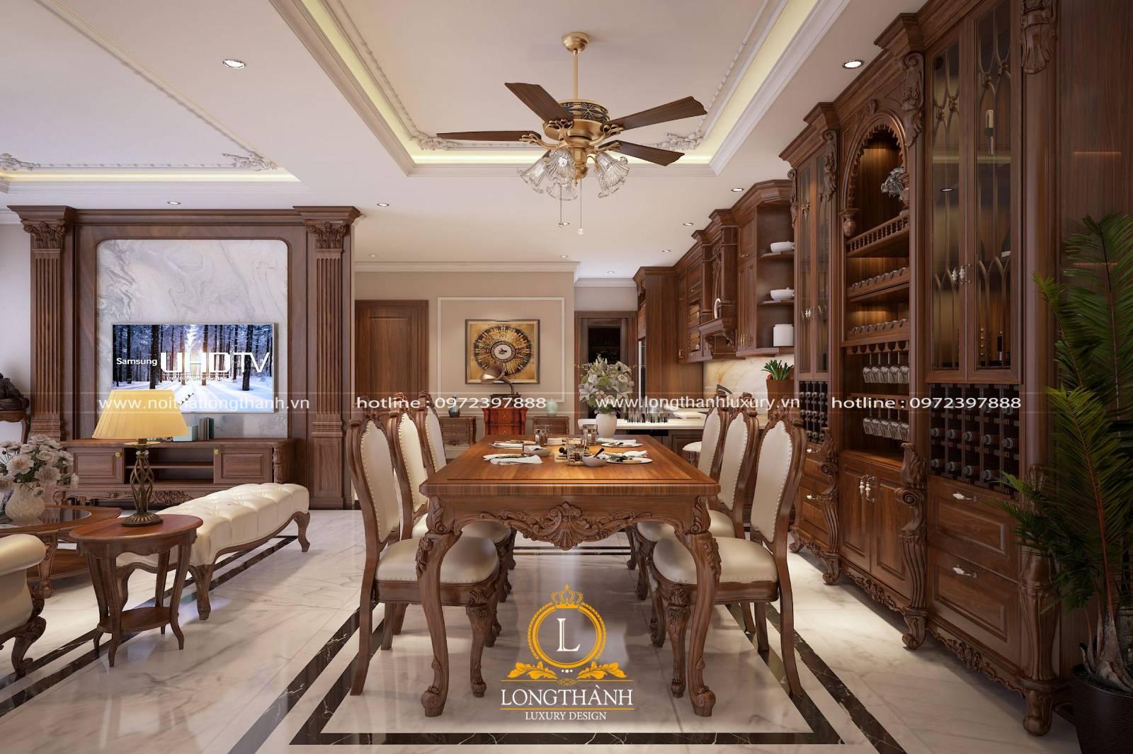 Mẫu bàn ăn gỗ Sồi đẹp cho không gian phòng bếp ấm cúng lộng lẫy