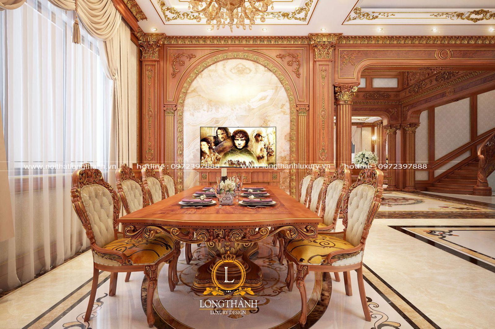 Bàn ăn tân cổ điển 8 ghế gỗ tự nhiên dát vàng