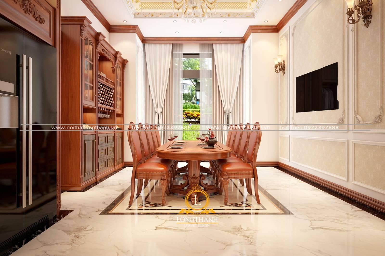 Mẫu bàn ăn tân cổ điển gỗ Gõ đỏ cho phòng ăn nhà biệt thự rộng