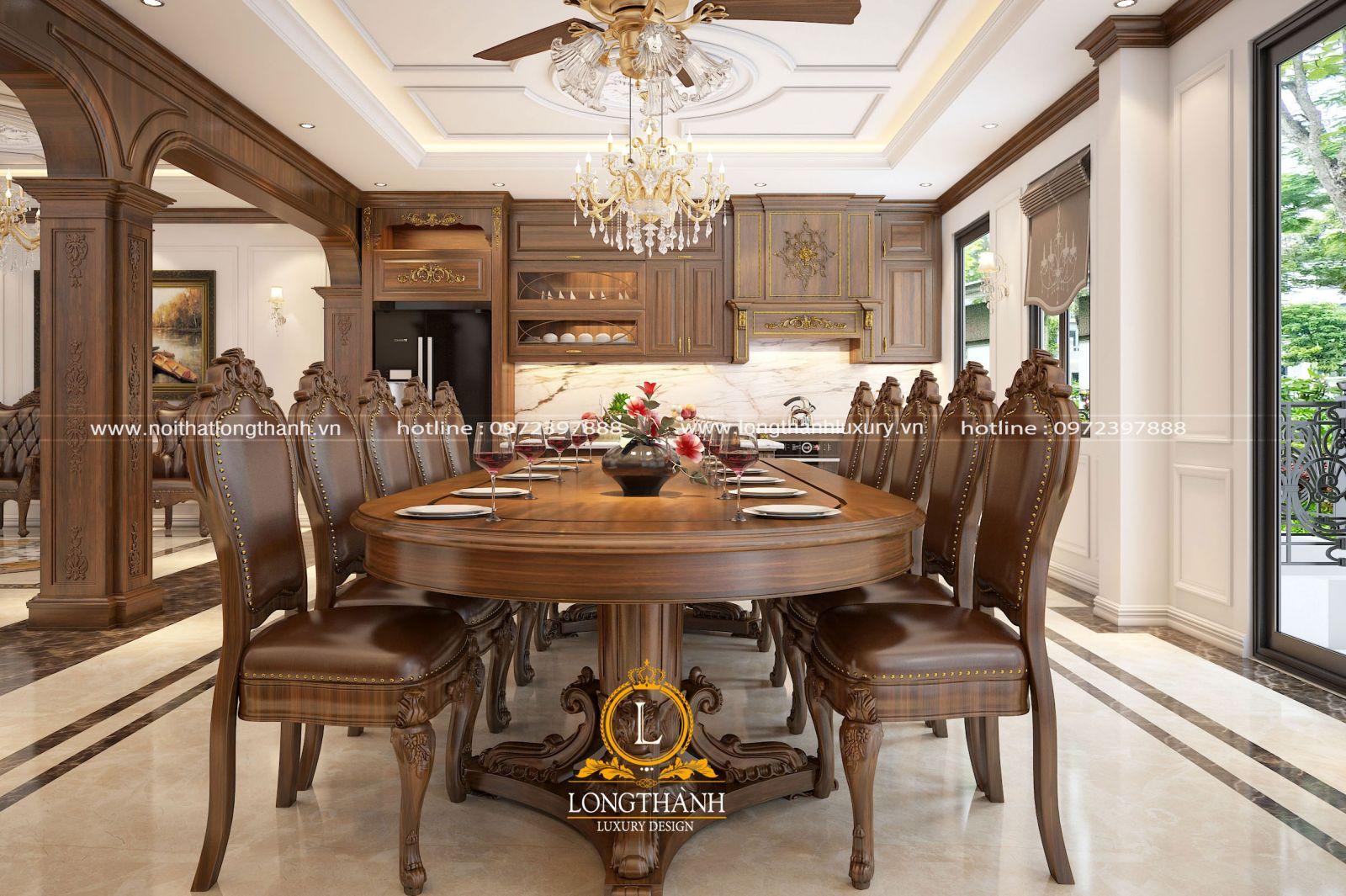 Bàn ăn gia đình 10 ghế ấn tượng
