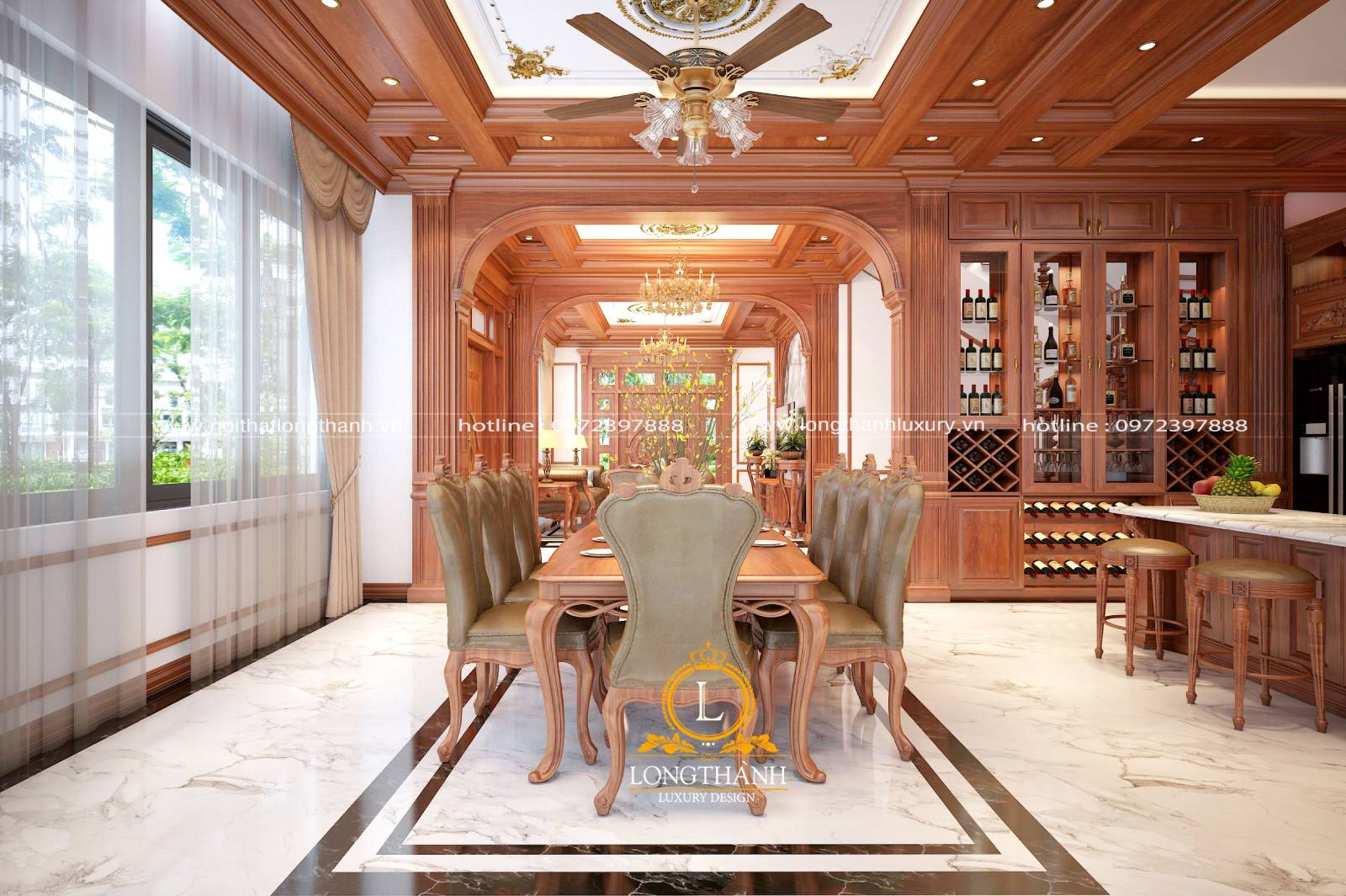 Bộ bàn ghế ăn được làm từ chất liệu gỗ Gõ đỏ Nam phi cao cấp