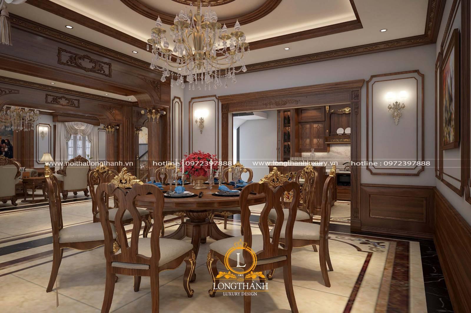 Thiết kế bàn ăn gỗ Sồi màu sắc ấm cúng với nhiều họa tiết cầu kỳ tinh tế