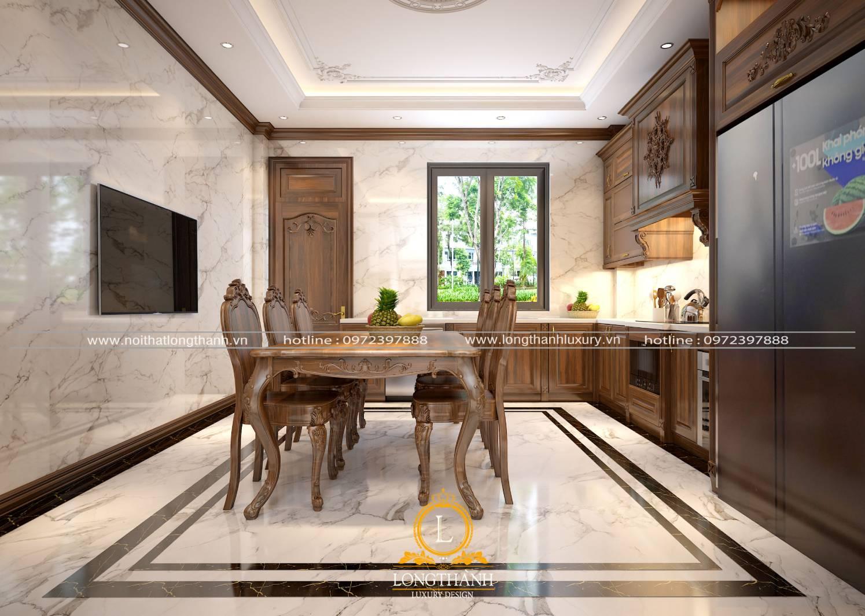 Mẫu bàn ghế ăn gỗ Sồi cho phòng bếp đẹp