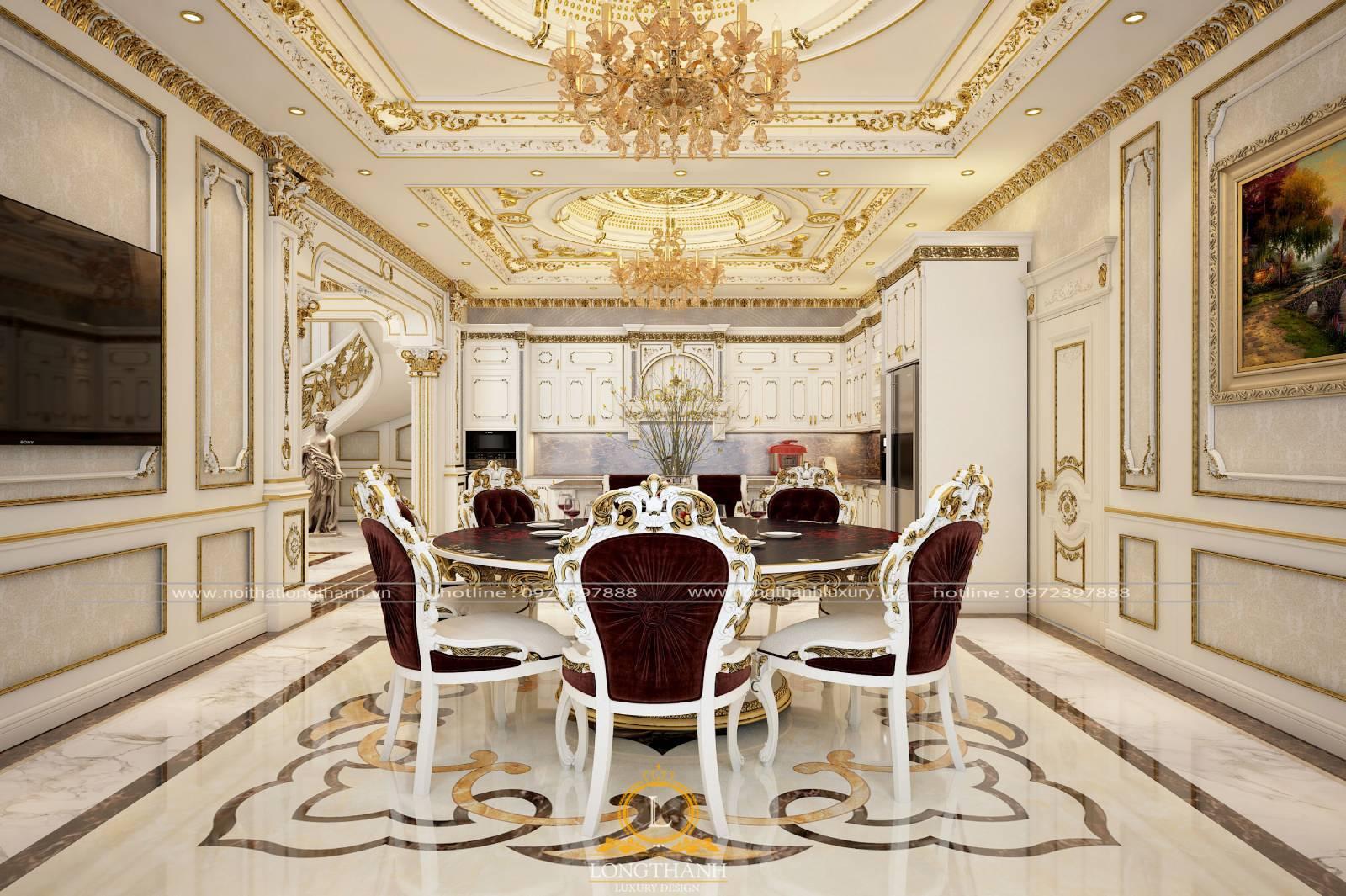 Mẫu bàn ăn dát vàng cho nhà biệt thự rộng