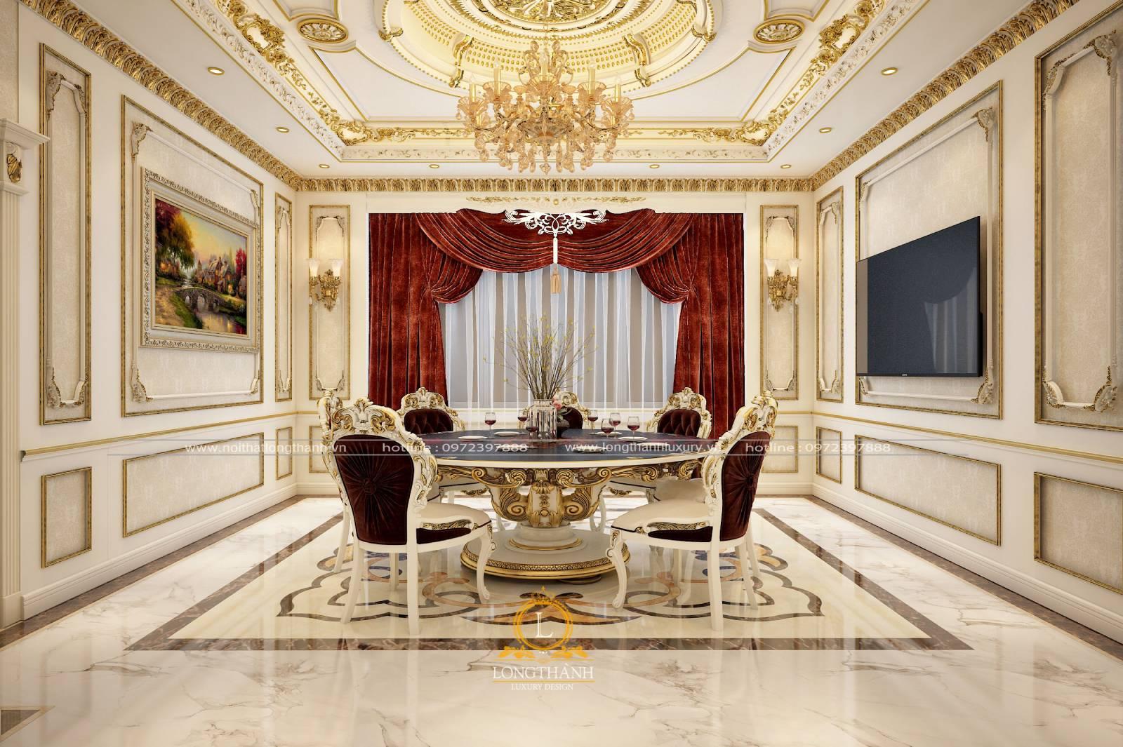 Mẫu bàn ghế ăn thiết kế theo phong cách tân cổ điến sơn trắng dát vàng